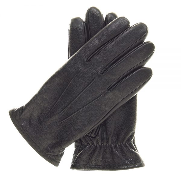 Pair of black Gondola Thinsulate Lined Touchscreen Gloves made of sheepskin leather with elastic wrist and raised points.