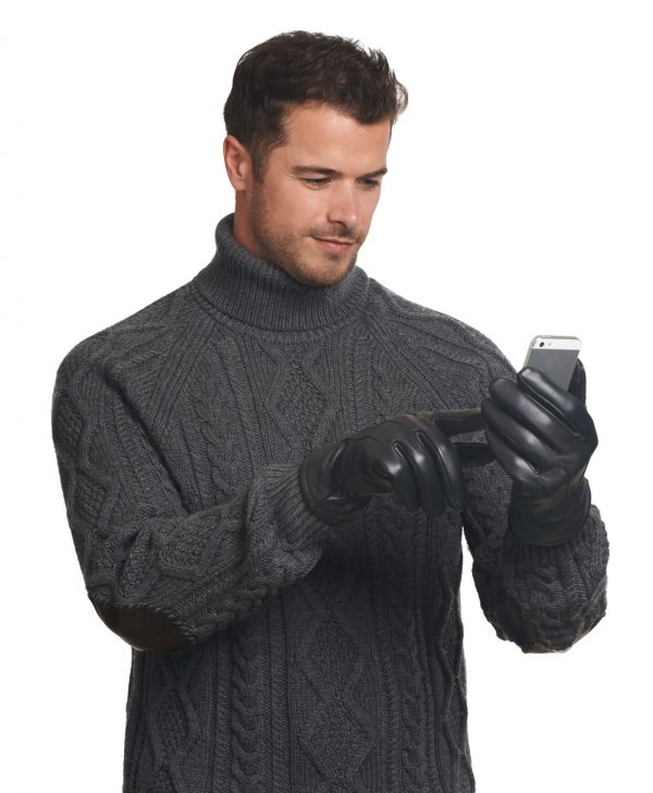 Man with facial hair in a sweater shows the touchscreen capability of the Gondola Thinsulate Lined Touchscreen Glove.