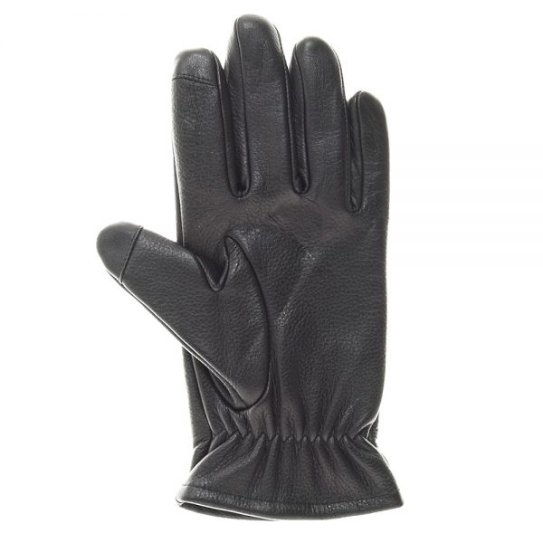 A black Gondola Thinsulate Lined Touchscreen Glove, palm side, made of sheepskin leather and elasticized wrist gather.