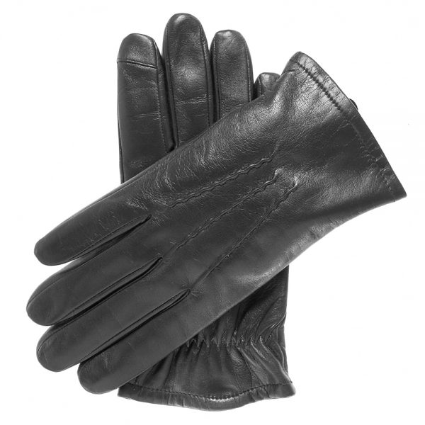 Pair of black Trailhead Men's Wool-Lined Touchscreen Gloves made of lambskin leather with raised stylish points.