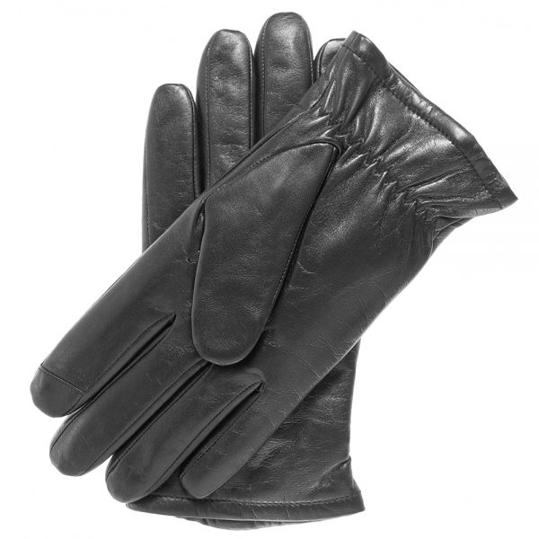 Pair of black Trailhead Wool-Lined Touchscreen Gloves, one palm up, with a palm-side wrist snugger and lambskin leather.