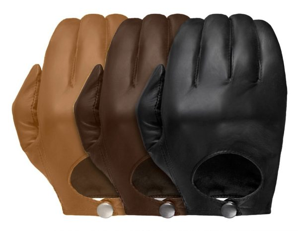 Three Stealth leather gloves showing its European-style open back and snap closure in tan, chestnut, and black