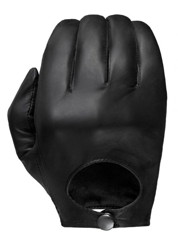 Black Stealth leather glove showing its European-style open back and snap closure.