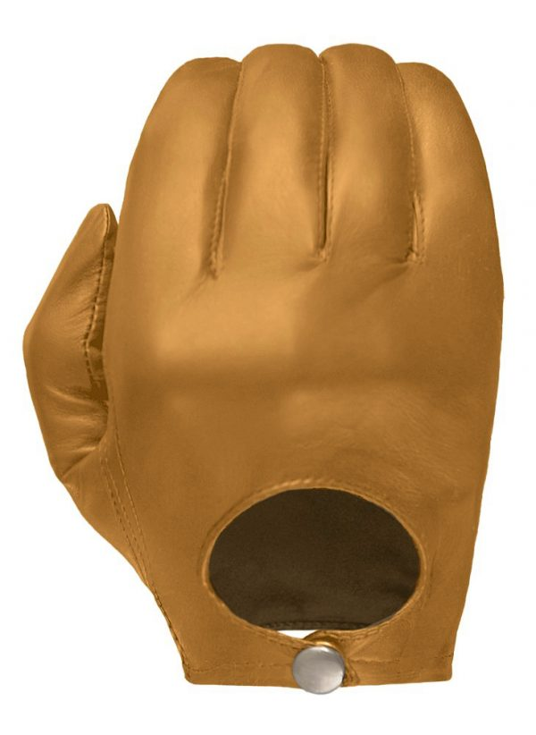 Tan Stealth leather glove showing its European-style open back and snap closure