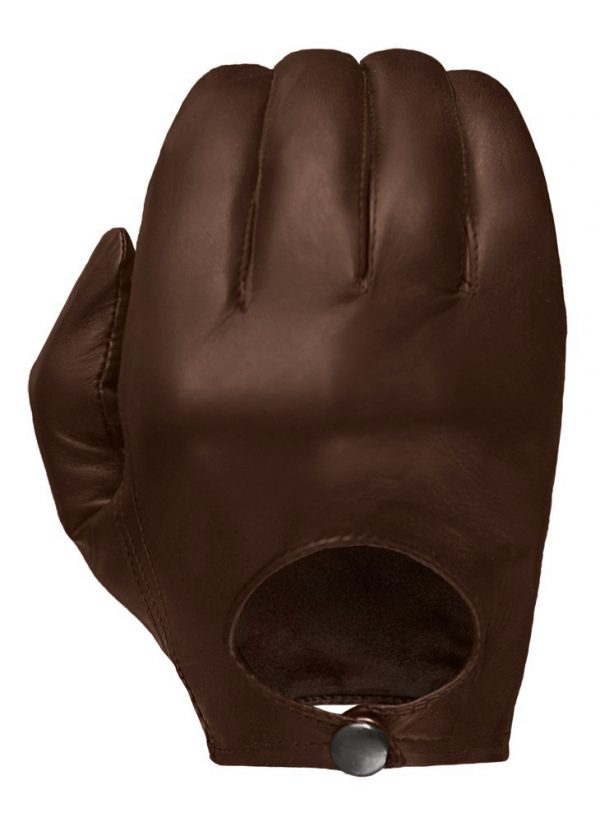 Chestnut-colored Stealth leather glove showing its European-style open back and snap closure