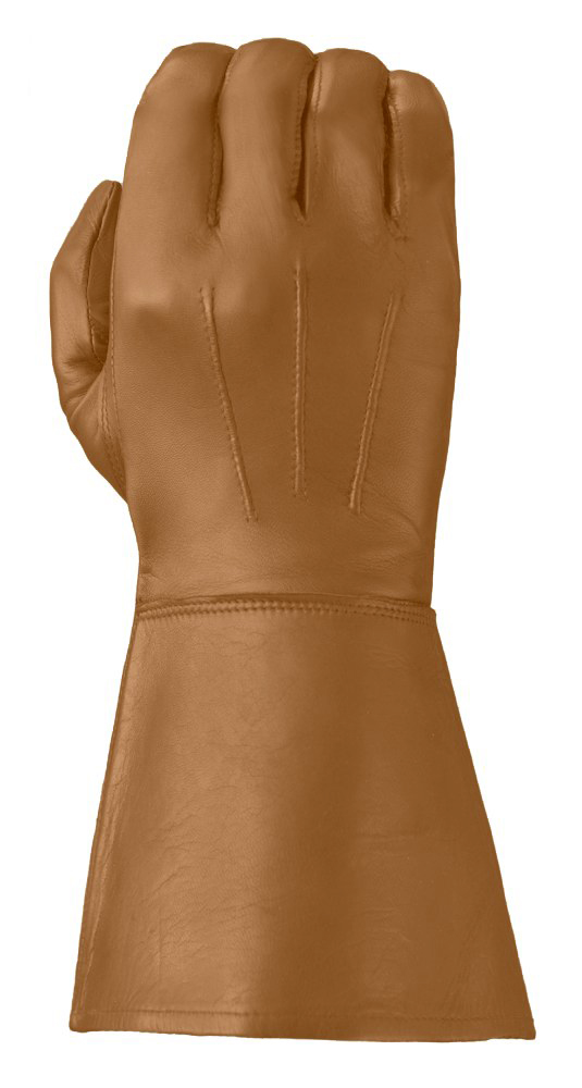 Tan Enforcer gauntlet-style leather glove showing its three points and elongated cuff for greater wrist protection.