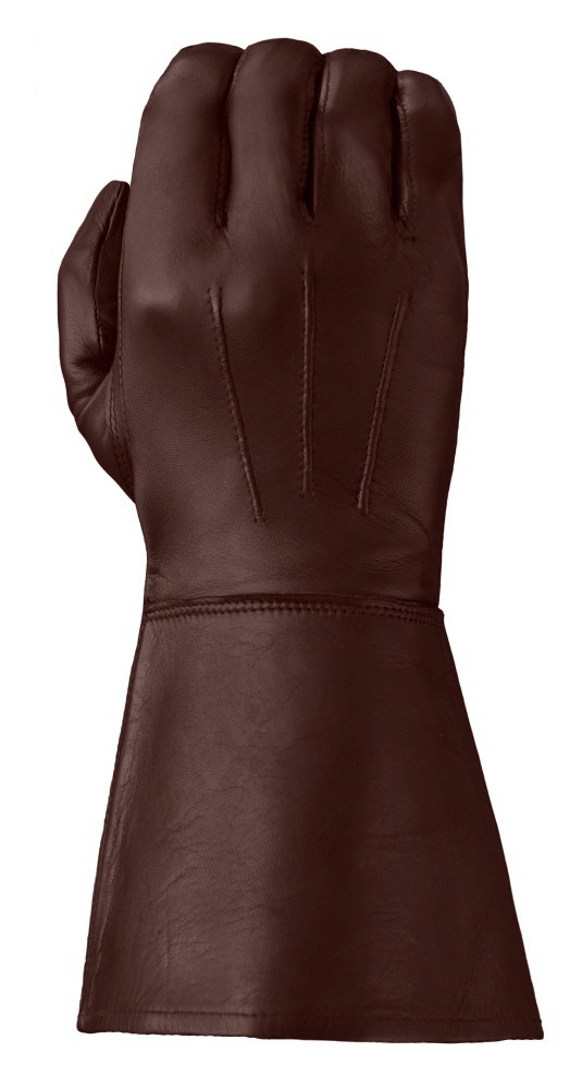 Chestnut-colored Enforcer gauntlet-style leather glove showing its three points and elongated cuff for wrist protection.