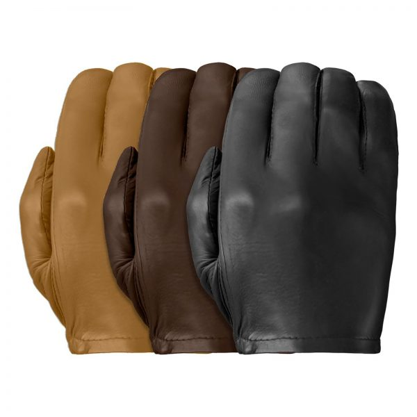 Three Patrol-X leather gloves showing its smooth back in tan, chestnut, and black.