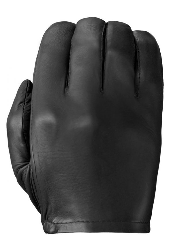 Black Patrol-X leather glove showing its smooth back.