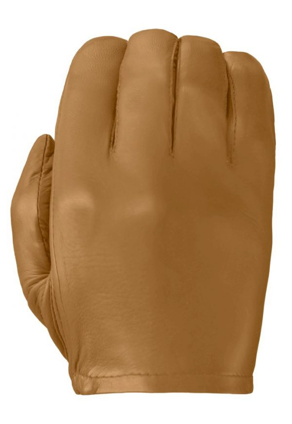 Tan Patrol-X leather glove showing its smooth back.
