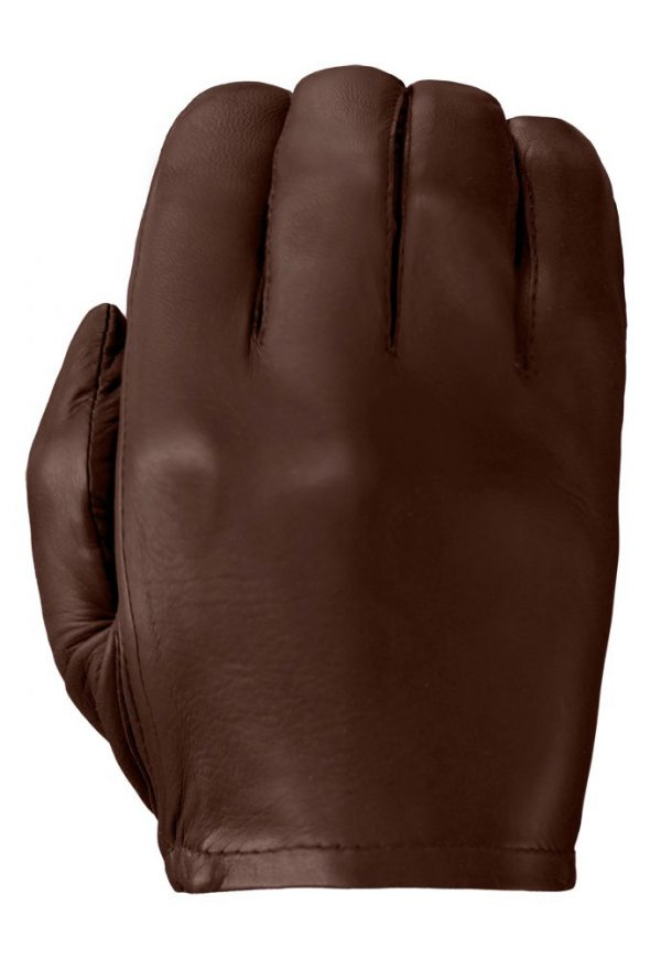 Chestnut-colored Patrol-X leather glove showing its smooth back.