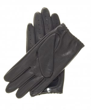 Black Streamline Driving Gloves showing palm side with elasticized wrist and snap closure.