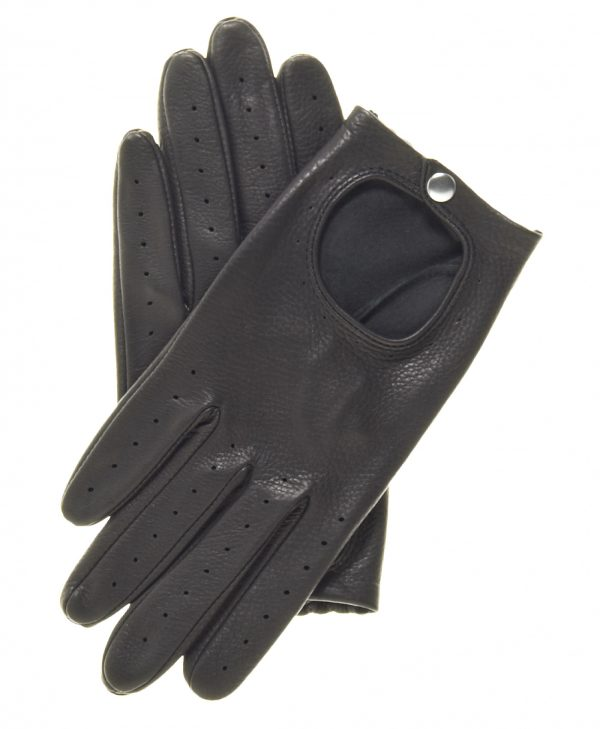 Black Streamline Driving Gloves made of deerskin leather, snap wrist closure, open back, and perforated finger vent holes.