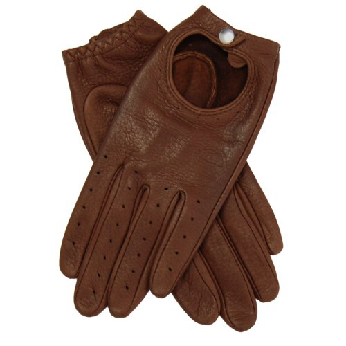 Brown Streamline Driving Gloves made of deerskin leather, snap wrist closure, open back, and perforated finger vent holes.