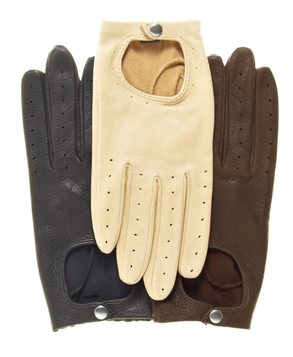 Streamline Driving Gloves, in black, tan, and brown, made of deerskin, snap wrist closure, open back, and finger vent holes.